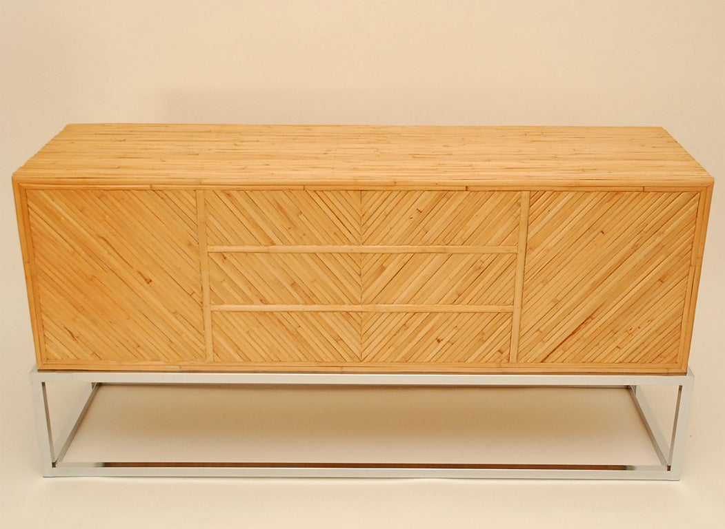 Rattan sideboard with chrome at 1stdibs for Sideboard rattan