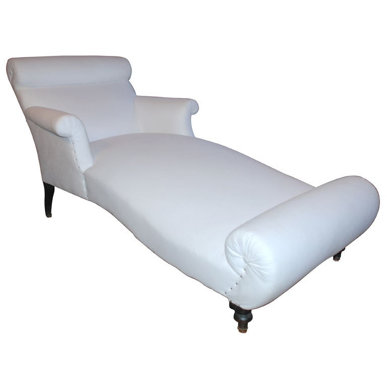 upholstered napoleon iii chaise longue at 1stdibs