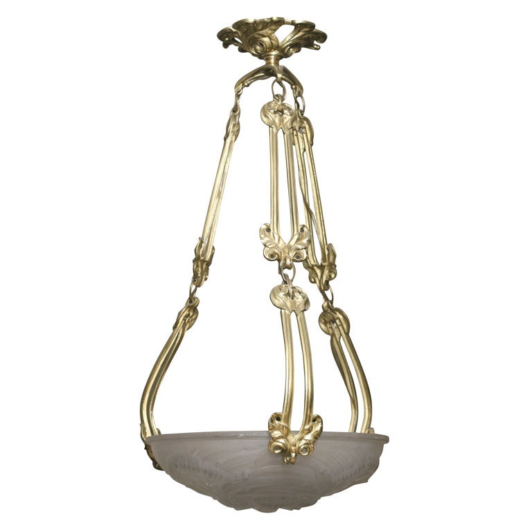 Art nouveau bronze and molded crystal chandelier at 1stdibs for Chandelier art nouveau