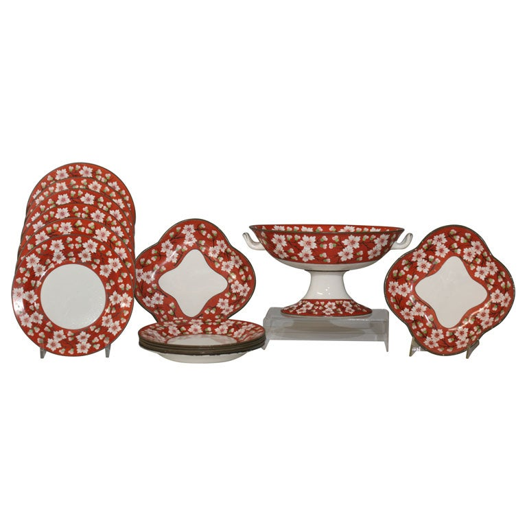19th Century Wedgwood Dessert Set of Orange and Green