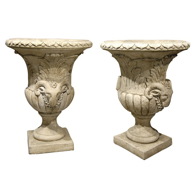 Pair of 1940s Fremcj Concrete Ram Head Garden Urns at 1stdibs