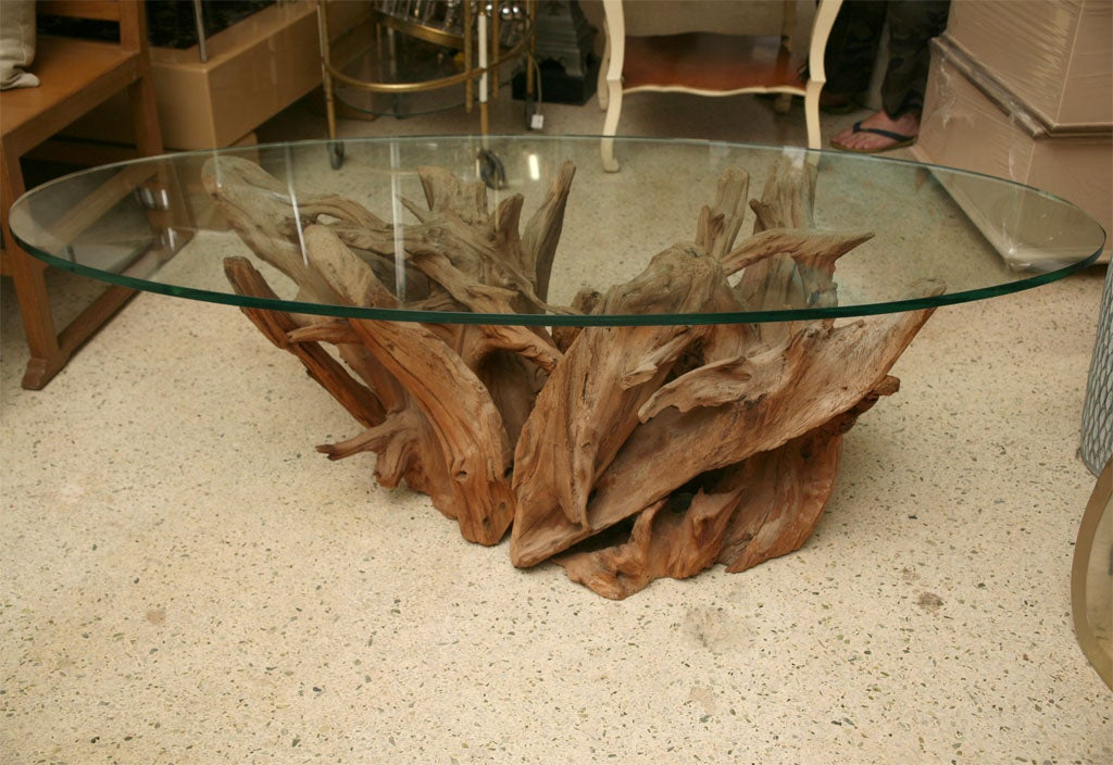 Weathered vintage driftwood coffee table at 1stdibs for Driftwood coffee table
