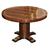 Round Art Deco Macassar Ebony Table with Bone Inlay