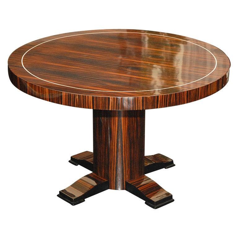 Round Art Deco Macassar Ebony Table with Bone Inlay