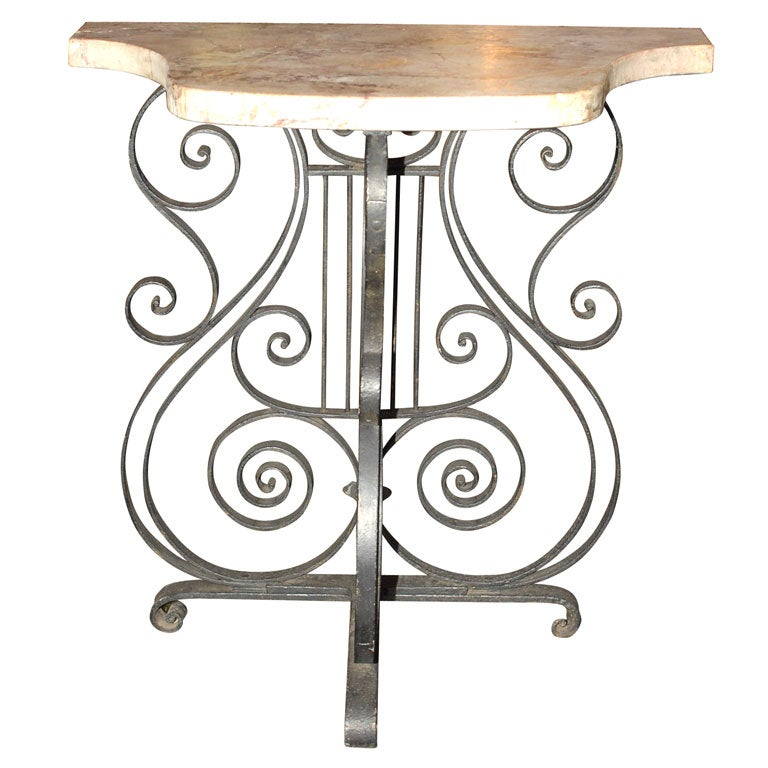 Tall wrought iron console table at 1stdibs for Wrought iron sofa table base