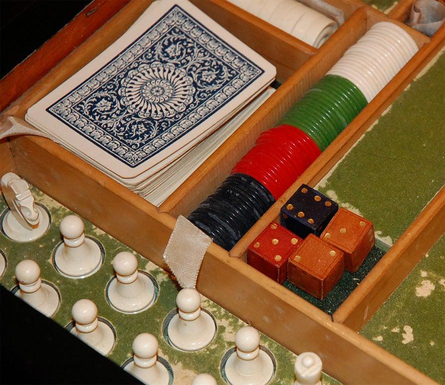 Italian Burl Game Box with original pieces 5