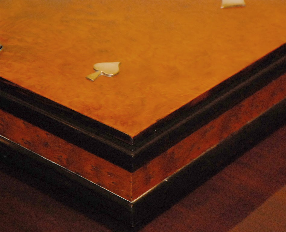 Italian Burl Game Box with original pieces 9
