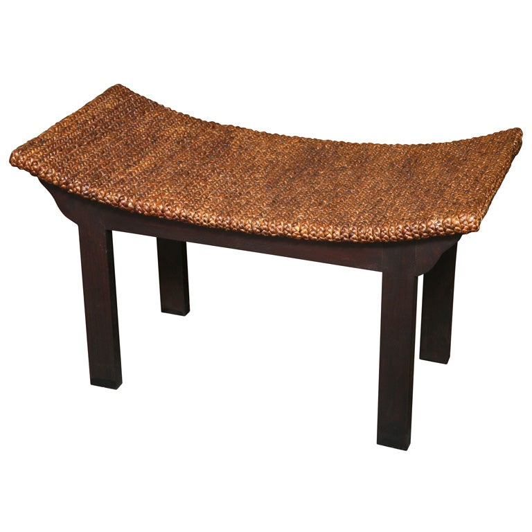 Teak Bench With Waterhyacinth Woven Top At 1stdibs