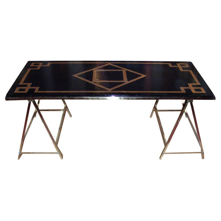 1940s Black And Gold Coffee Table At 1stdibs