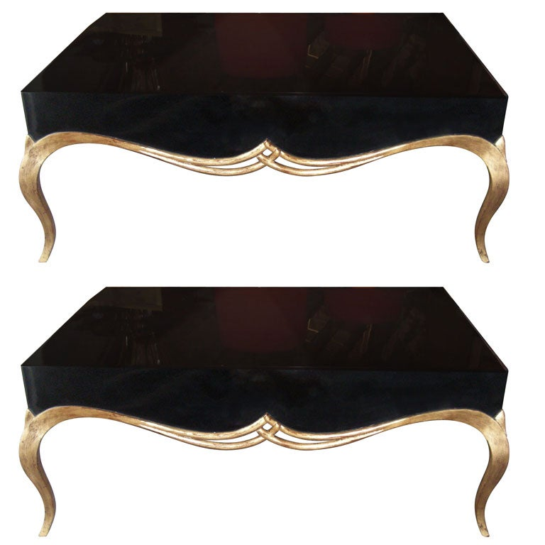 Pair of Contemporary Design Wooden Gilt and Lacquered Table