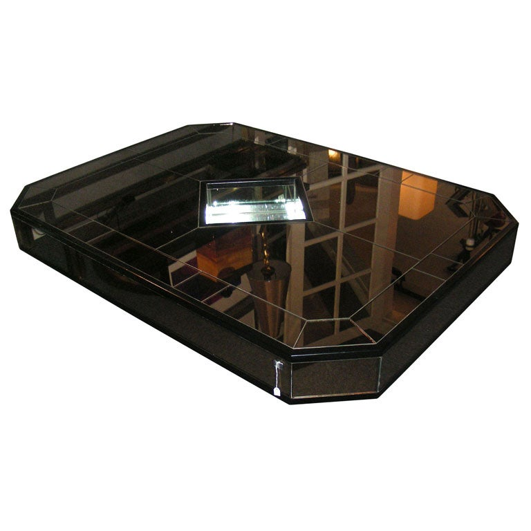 Mirrored Octagon Coffee Table: 1980s Octagonal Coffee Table In Smoked Mirror For Sale At