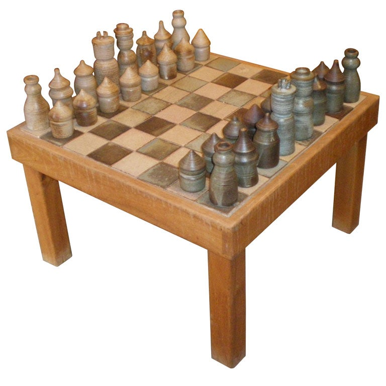 1950 1960 Game Table With Checker Board And Chess Pieces