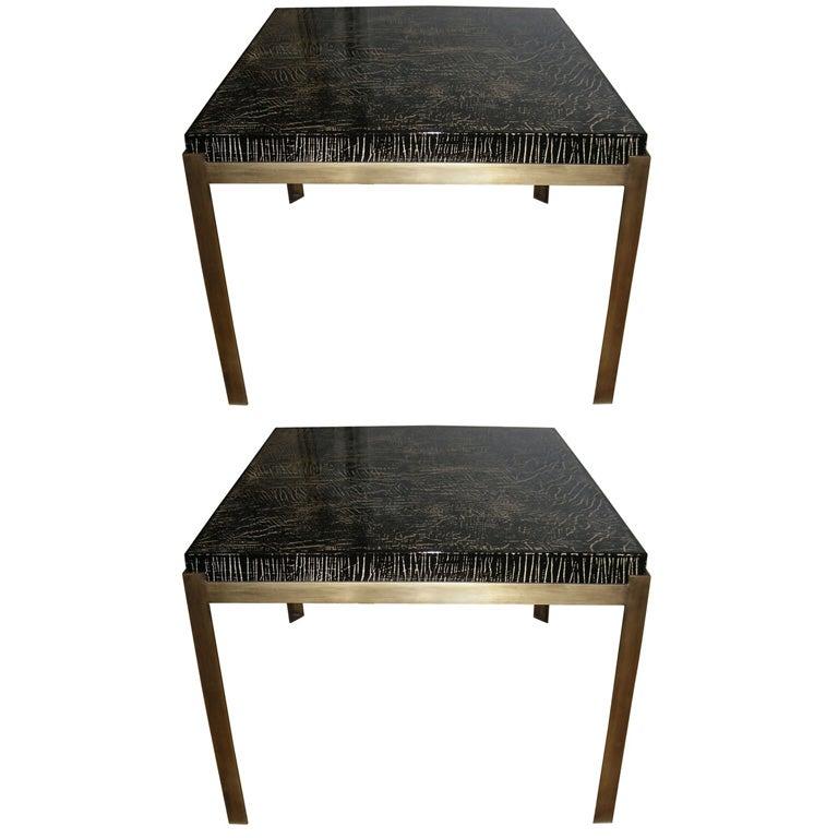Pair Of Edouard De La Marque Black Lacquer Coffee Tables