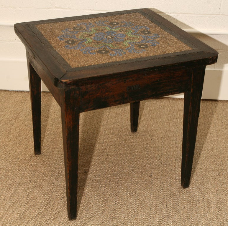 mosaic pepple top table in oak with intials FVDL