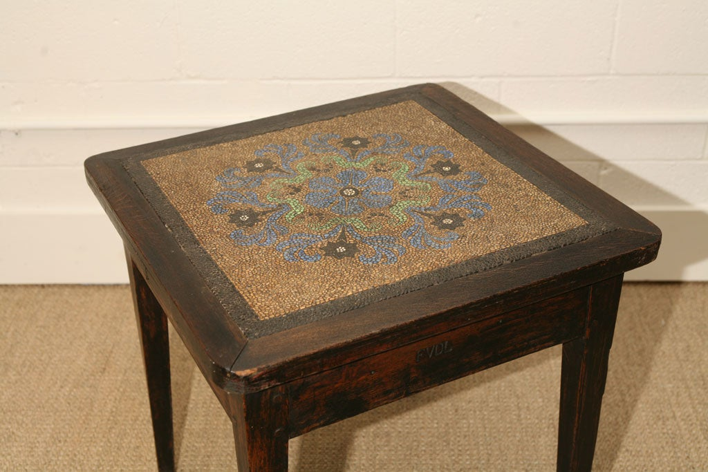 French mosaic pebble top table in oak with initials FVDL For Sale