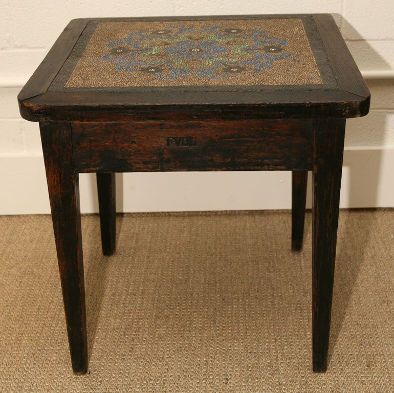 mosaic pebble top table in oak with initials FVDL 4