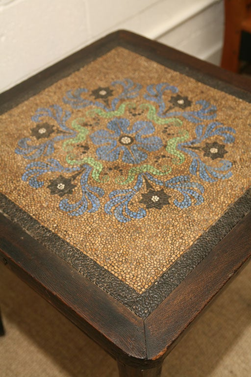 20th Century mosaic pebble top table in oak with initials FVDL For Sale