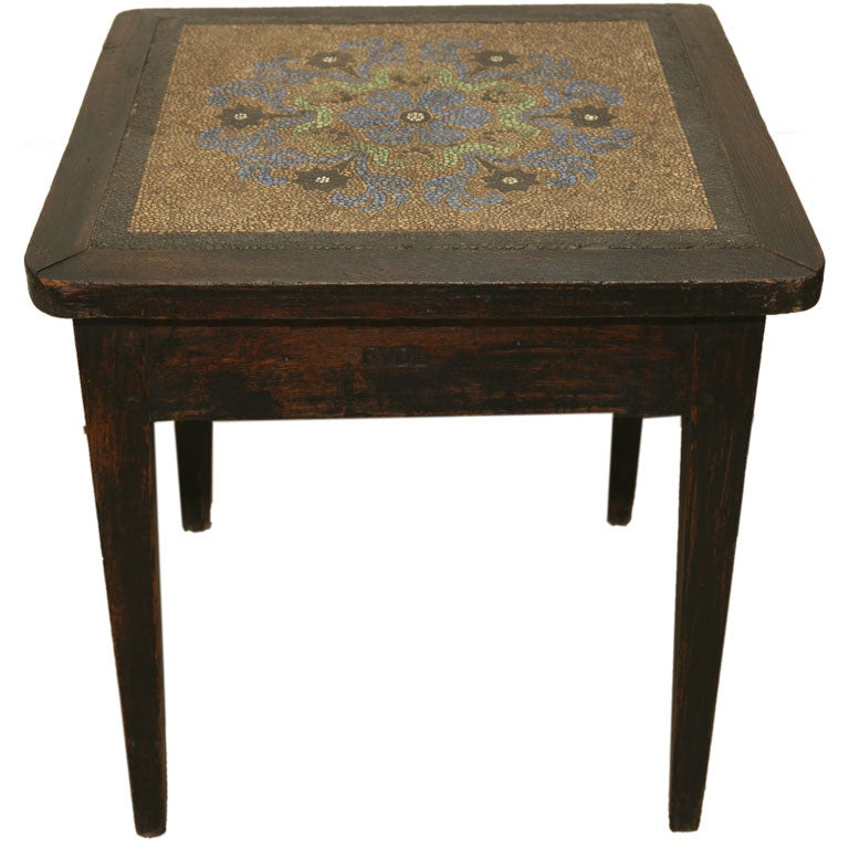 mosaic pebble top table in oak with initials FVDL For Sale
