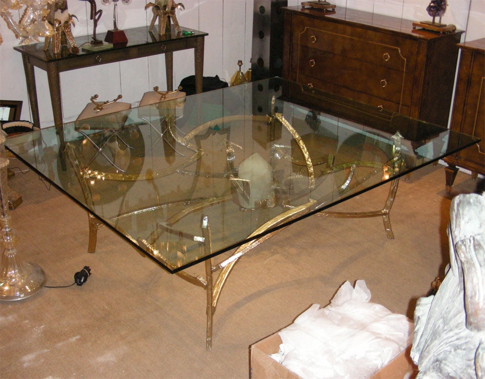 Very Large 1976 Dining Table In Bronze And Quartz For Sale