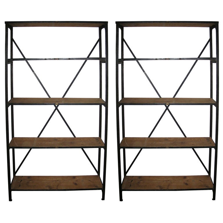 Two 1920s metal and pine etag res at 1stdibs - Etagere cases carrees ...