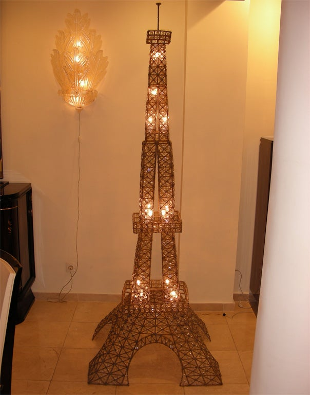1950s Eiffel Tower Floor Lamp In Metal And Crystal At 1stdibs