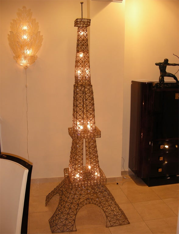 1950s eiffel tower floor lamp in metal and crystal at 1stdibs. Black Bedroom Furniture Sets. Home Design Ideas