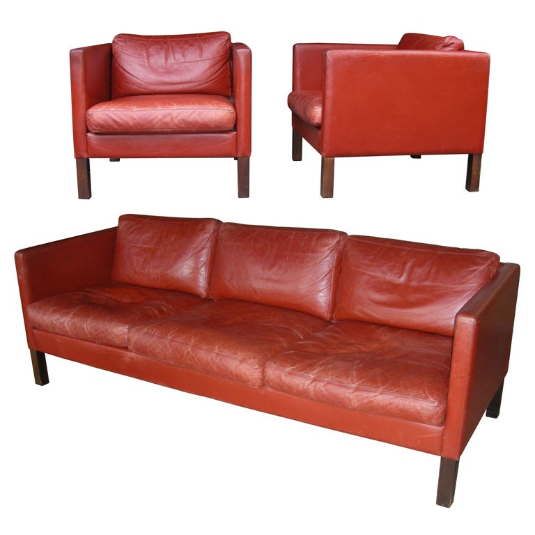 1950s Red Leather Living Room Suite At 1stdibs