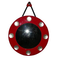 1970s Convex Mirror with Red Leather Frame