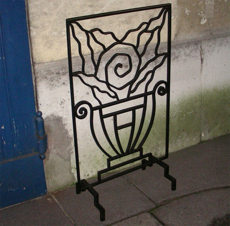 1930s Wrought Iron Fire Screen At 1stdibs