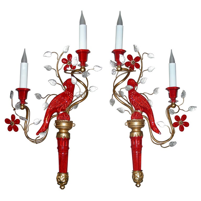 Maison Baguès - Two 1960s Sconces with Red Glass Parrots by Maison Baguès :  floral home decor parrots gold