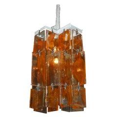 1960s Orange Murano Glass Chandelier