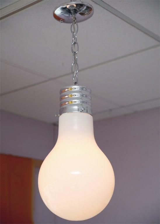 Glass Lighting Pendant Lightbulb Vintage Restored Rewired For Sale