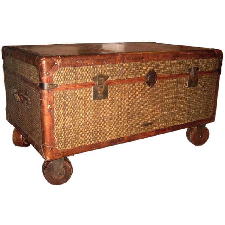 French Wicker Trunk On Wooden Wheels At 1stdibs