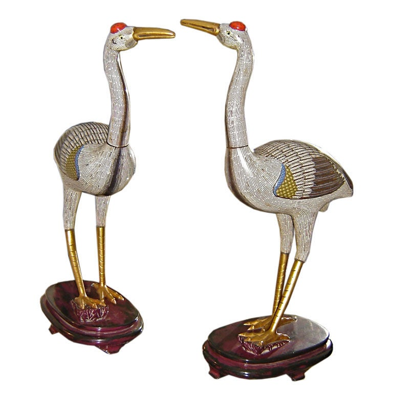 pair of chinese cloisonne cranes at 1stdibs. Black Bedroom Furniture Sets. Home Design Ideas