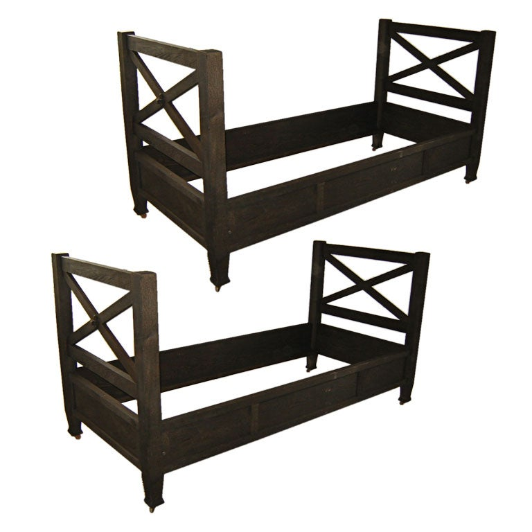 Pair of arts and crafts ebonized daybeds at 1stdibs for Arts and crafts daybed