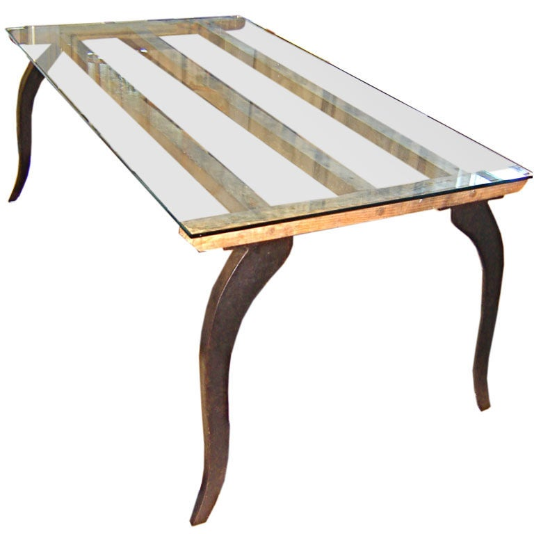 Tall Iron Glass And Wood Coffee Table At 1stdibs