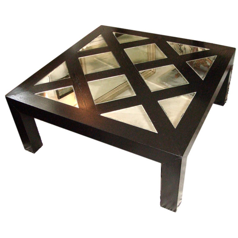 Black Lacquer And Smoke Mirror Coffee Table At 1stdibs