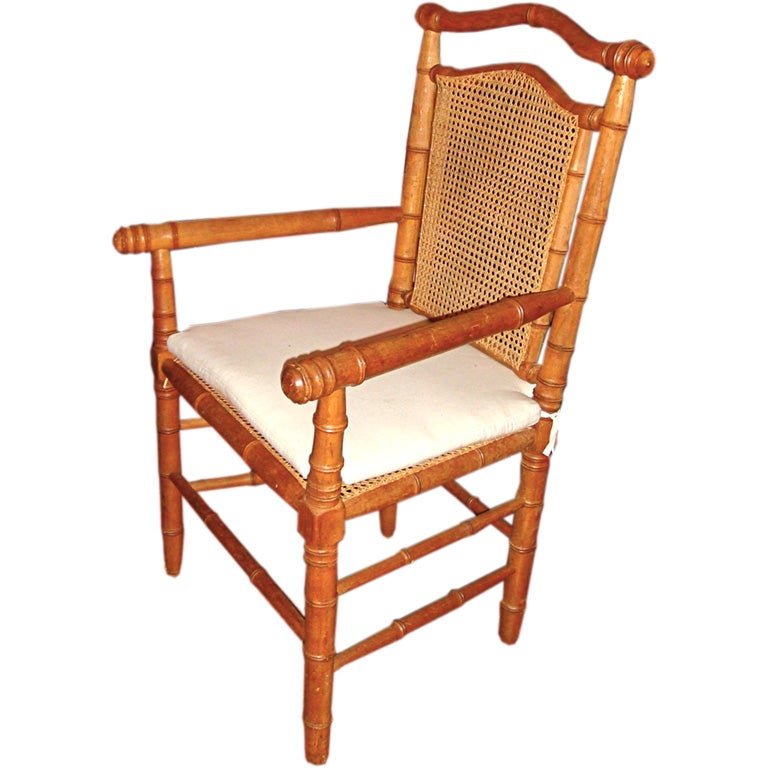 French Faux Bamboo Caned Chair At 1stdibs
