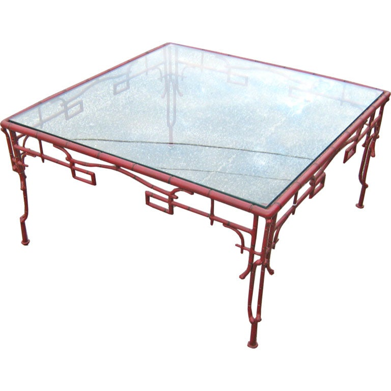 Wrought Iron And Glass Top Asian Theme Coffee Table At 1stdibs