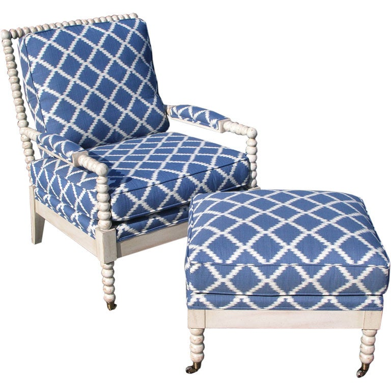 Upholstered Spool Arm Chair at 1stdibs