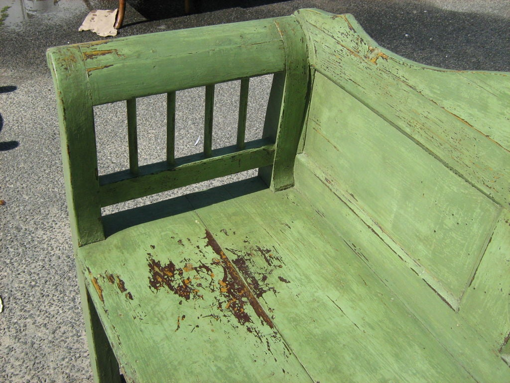 Painted garden bench at 1stdibs for Painted benches outdoor