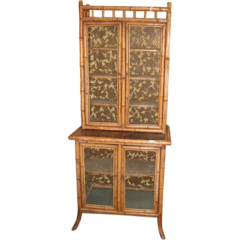 Bamboo two piece cabinet for sale at 1stdibs for Bamboo kitchen cabinets for sale