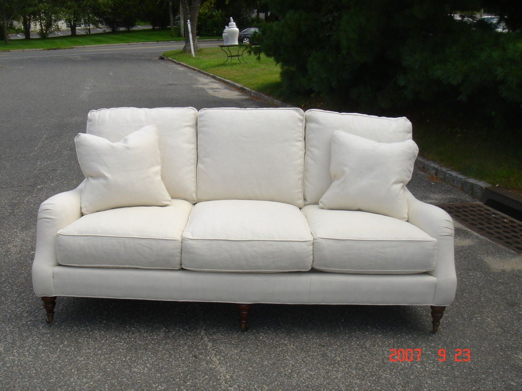 Upholstered english arm sofa at 1stdibs for Sofa vs couch english