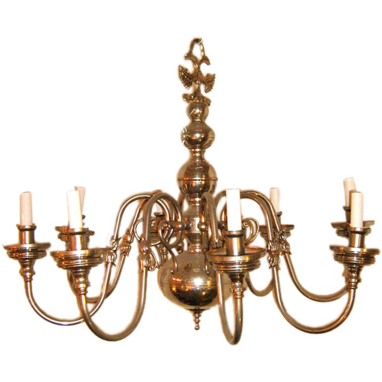 French Antique 6 Arm Brass Chandelier at 1stdibs
