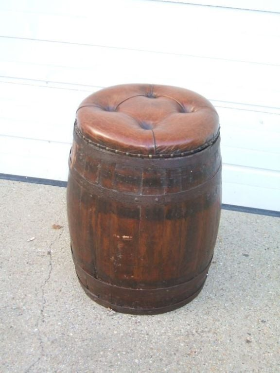 Leather Seat Wine Barrel Stool For Sale At 1stdibs