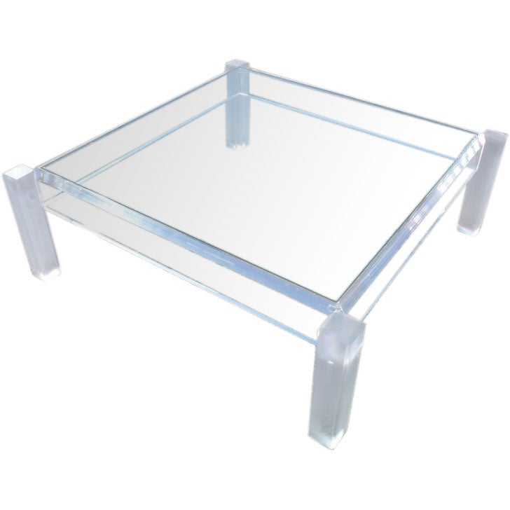 Unique modern glass top coffee table at 1stdibs for Contemporary glass top coffee table