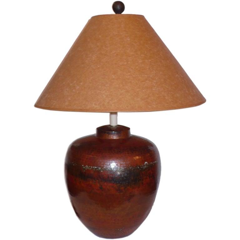 hammered copper lamp at 1stdibs. Black Bedroom Furniture Sets. Home Design Ideas