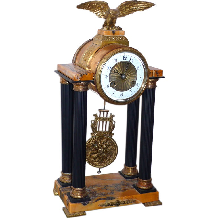Bronze And Marble Eagle Pendulum Clock At 1stdibs