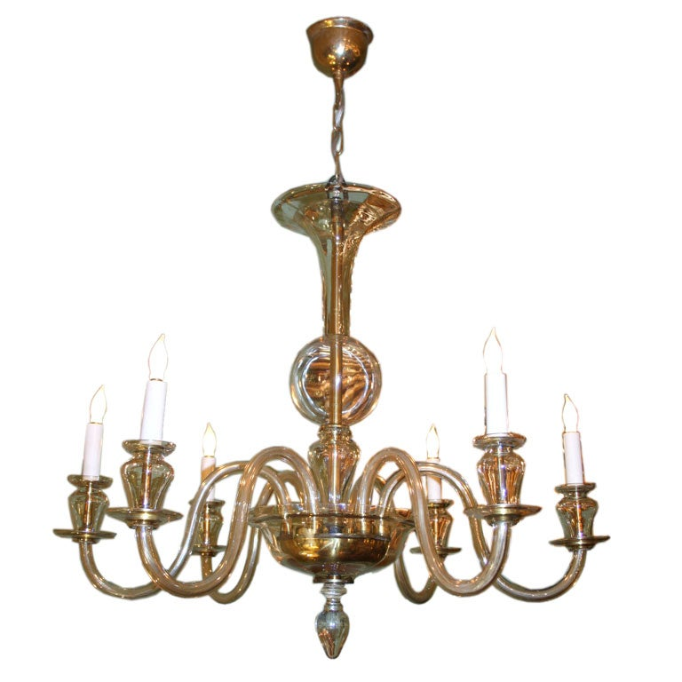 Murano Chandelier Color: 1940's Champagne-Colored Murano Chandelier At 1stdibs