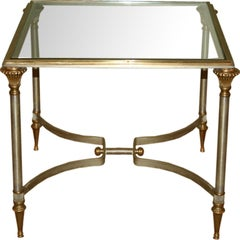 Small Italian Steel and Glass End Table